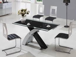 Dining Table Black Glass Modern Black Glass Dining Table Set Home Furniture