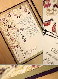 lantern wedding invitations gold and eggplant bird and lantern wedding invitationmomental designs