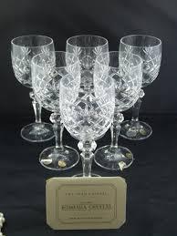 bohemian crystal vanessa wine glasses boxed