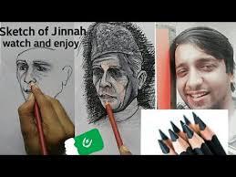 artist drawing live sketch of quaid e azam muhammad ali jinnah