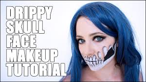 Halloween Skull Face Makeup by Dripping Skull Face Halloween Makeup Tutorial Youtube