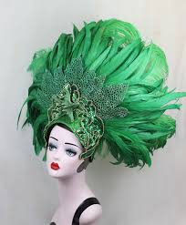 Vegas Showgirl Halloween Costume Green Feather Showgirl Headdress Mermaid Costume Las Vegas