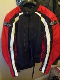 black riding jacket joe rocket textile riding jacket size m red black white
