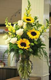 sunflower arrangements beautiful arrangement sunflowers white roses yellow