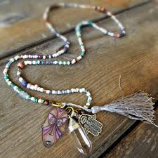 long silver crystal necklace images Best long hamsa necklace products on wanelo jpg