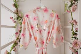 wedding dressing gowns bridesmaid pink floral wedding dressing gown the boutique co