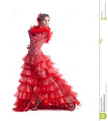 woman flamenco dancer in red costume isolated stock photography