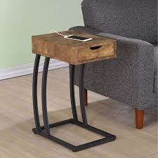 Wood And Metal End Table Coaster Furniture Metal And Wood C Shaped Accent Table Walmart Com