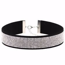 rhinestone choker collar necklace images Black leather rhinestone choker jewlery necklacehub jpg