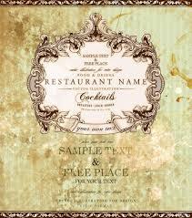 restaurant label design with old floral frame for vintage menu