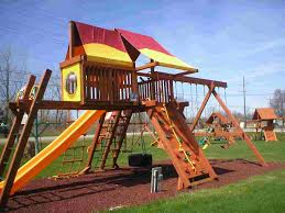 decorating wooden playsets with green grass and wooden stair for