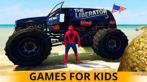 monster trucks videos for kids monster trucks usa cars for children and toddlers spiderman