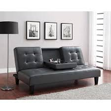 dhp julia cup holder convertible futon sofa bed grey stealth