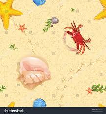 seamless sand ocean creatures pattern stock vector 76372768