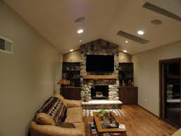 decorations modern home theater in living room with black sofa