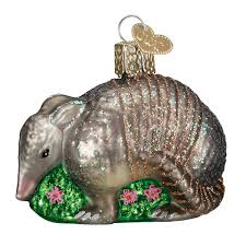 world armadillo glass blown ornament