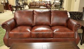 leather sofa with nail head studded trim casual leather