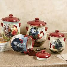 Red Kitchen Canisters Sets Kitchen Astounding Rooster Decor For The Kitchen Rooster Decor