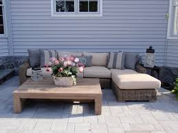 Wooden Sofa Chair With Cushions Patio L Shaped Patio Furniture Home Interior Design