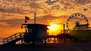 California destination travel images Footage silhouette ferris wheel santa monica pier sunset dramatic resiz
