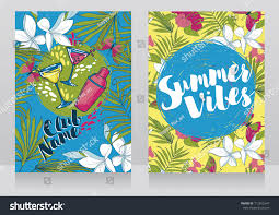 cards summer cocktail party invitations trendy stock vector