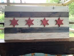 Chicago Flags Custom Pallet Wood Chicago Flag By Taj Woodcraft Llc Custommade Com