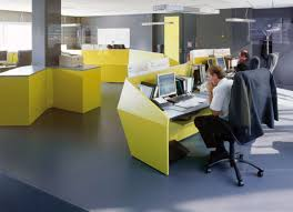 amazing hi tech office design with white wooden floating