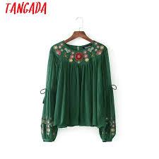 green womens blouse tangada fashion green blouse bohemia style floral embroidery