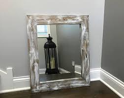 mirror whitewash wood wood frame mirror rustic wood mirror