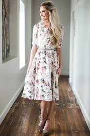 Modest Easton Modest Dress In Cream W Dusty Rose Floral Print
