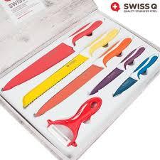 couteau cuisine ceramique couteaux revêtement céramique swiss q 6 pièces achat vente