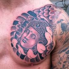 wonderful buddha and rising japanese sun on chest