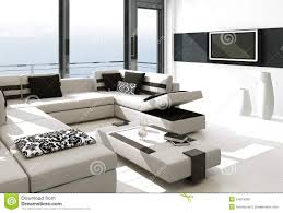 White Living Room Luxury Living Room Interior With White Couch And Seascape View