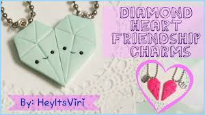 friendship heart polymer clay diamond heart friendship charms heyitsviri
