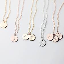 intial necklace delicate initial disc necklace gold initial