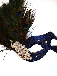 peacock masquerade mask luxury blue silver peacock feather venetian mask