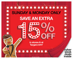 target announces two day cyber stores spectacular 15 percent
