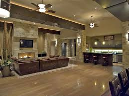 Laminate Floor On Ceiling Contemporary Great Room With Built In Bookshelf U0026 Stone Fireplace