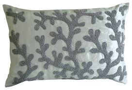 Lumbar Decorative Pillows Coral Design Art Silk White Lumbar Pillow Cover Silver Corals