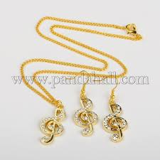 earring necklace rhinestone images Wholesale alloy rhinestone treble clef golden jewelry sets JPG