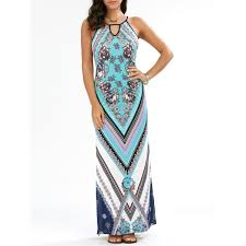 floral chevron sleeveless keyhole neck beach maxi dress in cyan l
