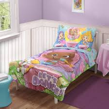 bedroom bed sheets in colorful cartoon characters also white