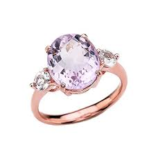 gold promise rings 10k gold pink amethyst modern promise ring with white topaz