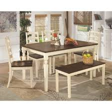 dining room sets with bench whitesburg large dining room bench ivory signature design by