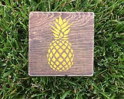 Pineapple Home Decor Pineapple Wood Sign Etsy
