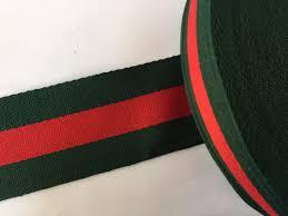 2 green and striped ribbon grosgrain ribbon