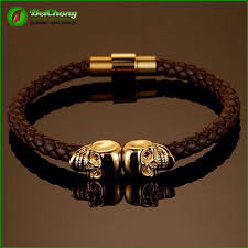 gold plated leather bracelet images Dubai gold plated skull genuine leather twin skull mens leather jpg