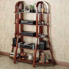 Short Ladder Bookcase Brown Wooden Five Oval Shelves With Six Short Legs And Connected