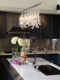 Broadway Linear Crystal Chandelier Vapor Counter Stools Transitional Kitchen Liz Levin Interiors