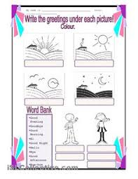 greetings matching activity worksheet personal teaching resources